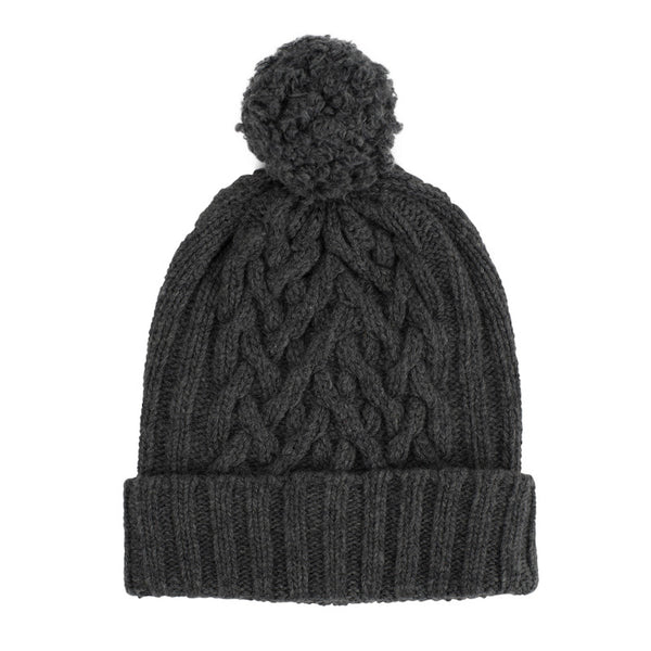Derby Grey Chunky Cable bobble hat