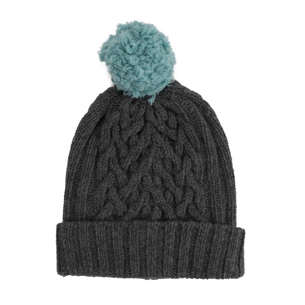 Derby Grey Chunky Cable & Iona Bobble Hat