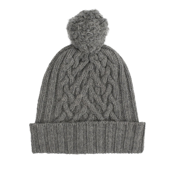 Flannel Grey Chunky Cable Bobble Hat