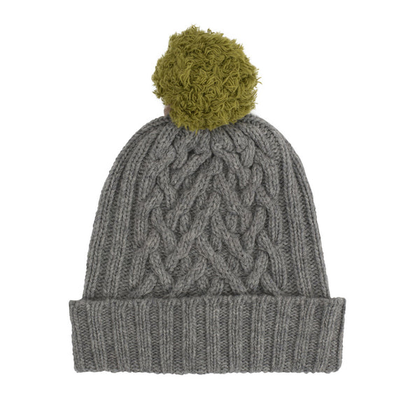 Flannel Grey Chunky Cable & Moss Green Bobble Hat