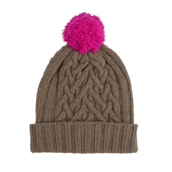 Dark Natural Chunky Cable & Shocking Pink Bobble Hat