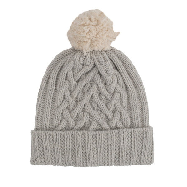 Dove Grey Chunky Cable & Almond Bobble Hat