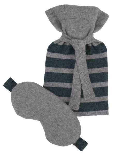 Flannel Grey Cashmere Mini Hot Water Bottle & Eyemask Gift Set