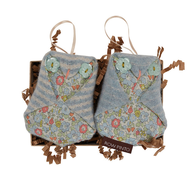Forget-Me-Not Boxed Pair of Lavender Baby Owls
