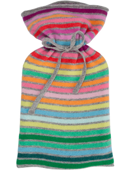 Rainbow Wide Stripe Flannel Grey Hot Water Bottle