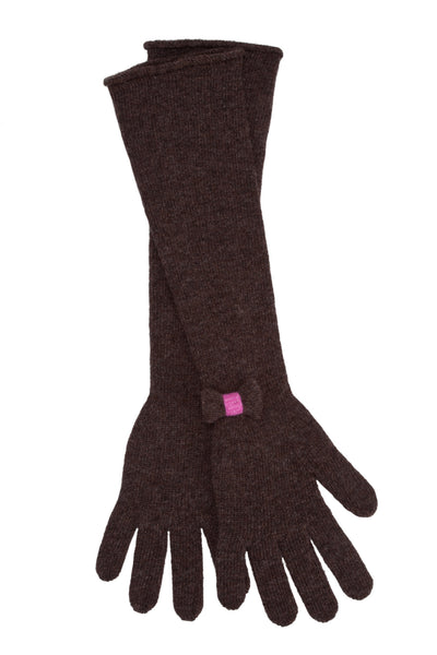 Chocolate Brown Bow Elbow Gloves