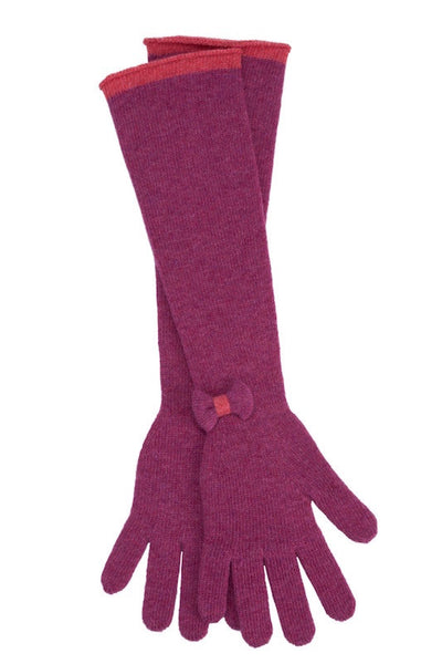 Raspberry & Peony Bow Elbow Gloves