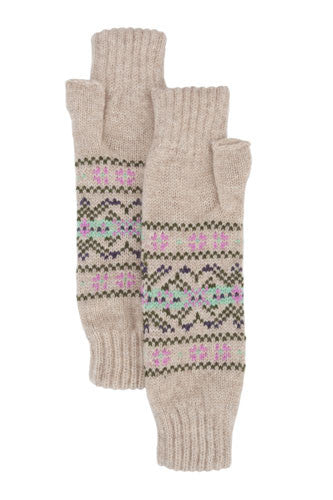 Cashmere Biscuit Fair Isle Wrist Warmers