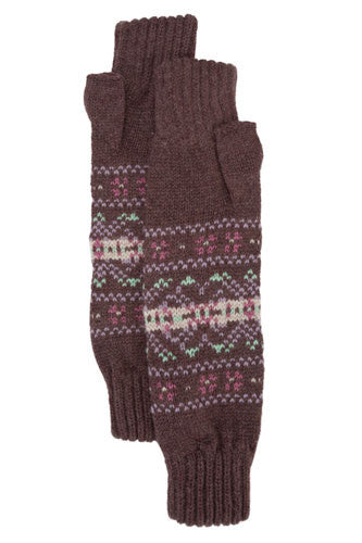 Cashmere Chocolate Fair Isle Wrist Warmers