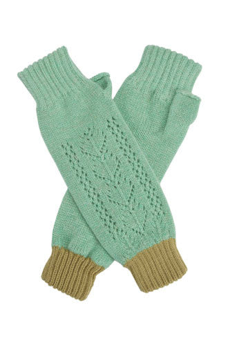 Gingermint Cashmere Lace Wrist Warmers