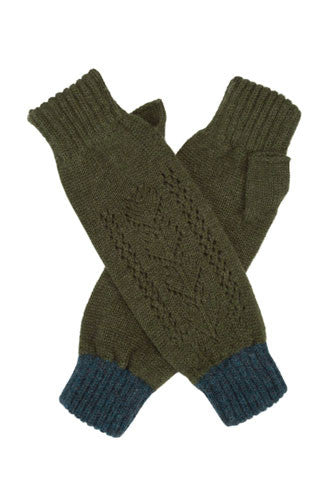 Olive Cashmere Lace Wrist Warmers