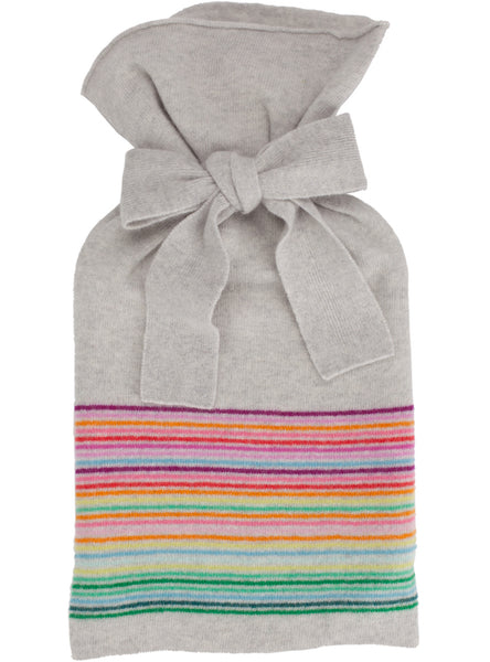 Rainbow Stripe Dove Grey Hot Water Bottle