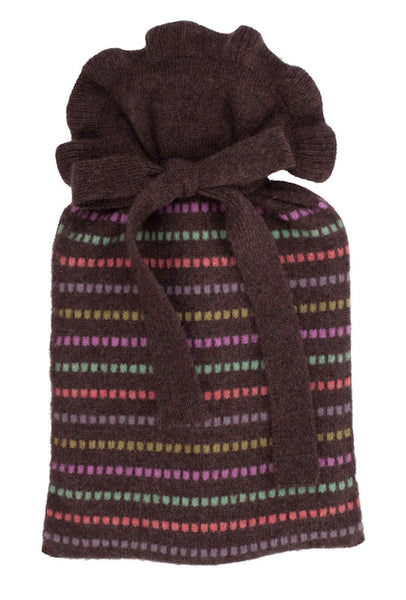 Chocolate Grid Stripe Mini Hot Water Bottle