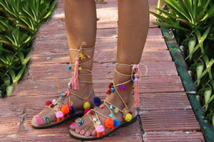 "Greek decorated lace-up handmade leather sandal ""Lesvos"""