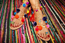"Load image into Gallery viewer, Greek decorated lace-up handmade leather sandal ""Lesvos"""