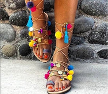 "Load image into Gallery viewer, Greek decorated lace-up handmade leather sandal ""Kythira"""