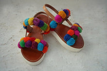 "Load image into Gallery viewer, Pompomized leather sandal handmade with a stylish white sole "" Oenone"""