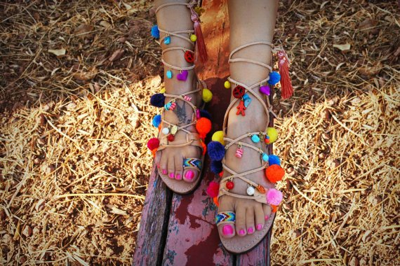 Greek decorated lace-up handmade leather sandal