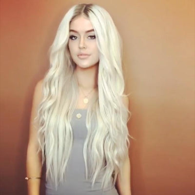 Platinum Gold Long Synthetic Lace Front Wig