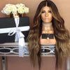 BLACK AND BROWN WAVY SYNTHETIC LACE FRONT HAIR