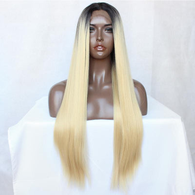 Blonde Lace Front Wig 100% Virgin Human Hair Wig Straight 1b/613