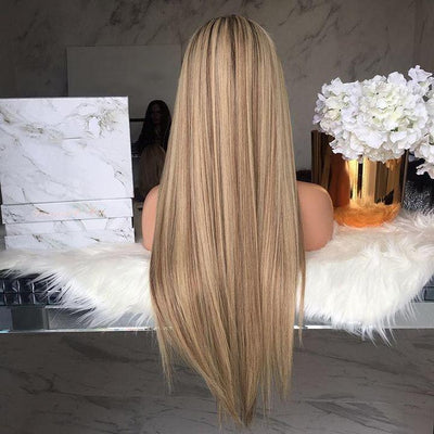 GLAMOROUS STRAIGHT LONG SYNTHETIC LACE FRONT WIG