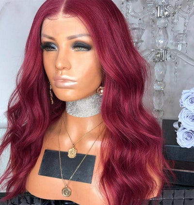 Long wavy red Synthetic Lace Front hair