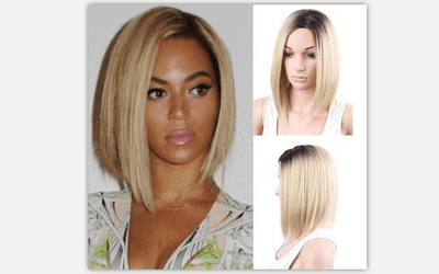 Black/Blonde Ombre Beyonce Synthetic Lace Front Bob Wig