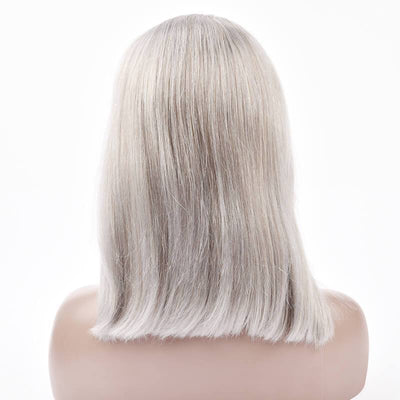 Grey Bob Wig Human Hair For Black Women 10 Inch