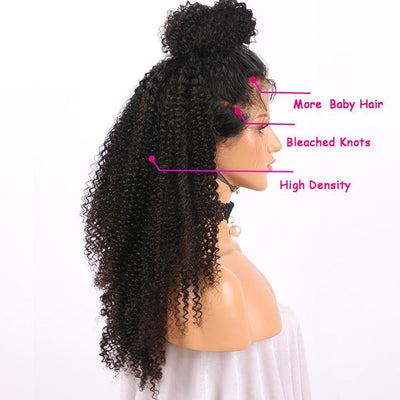 Kinky Curly Lace Front Human Hair Wigs Black Remy Hair Pre Plucked Bleached Knots