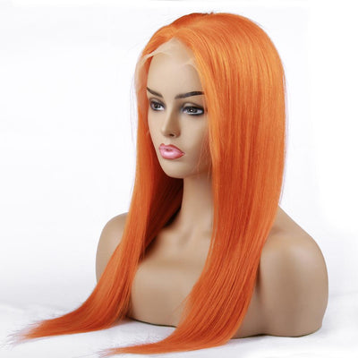 Orange Frontal Wig 100% Virgin Human Hair Wig Straight