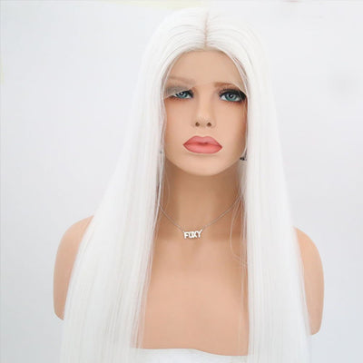 White Synthetic Lace Front Wig Long Silky Straight With Middle Part Heat Resistant Fiber