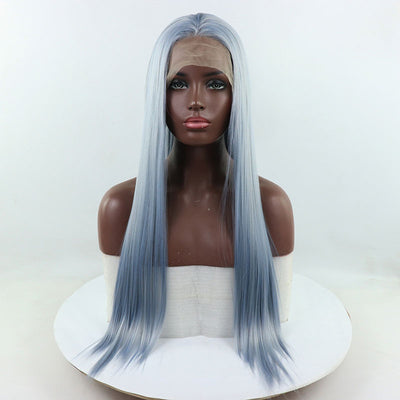 Bombshell Light Blue Mix Grey Long Straight Hand Tied Synthetic Lace Front Wig For Women