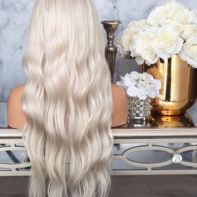 Platinum Blonde Synthetic Lace Front Wig With Baby Hair