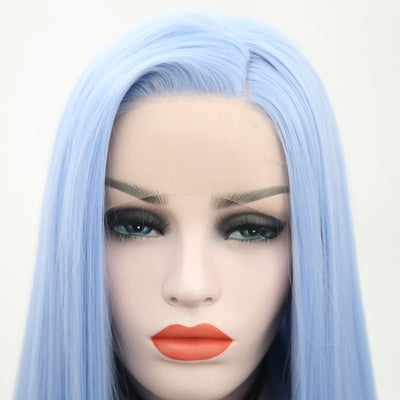 Side Part Light Blue Synthetic Lace Front Wig Long Straight Glueless Heat Resistant Wigs