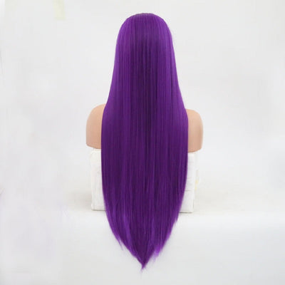 Dark Purple Synthetic Long Straight Hair Lace Front Wigs