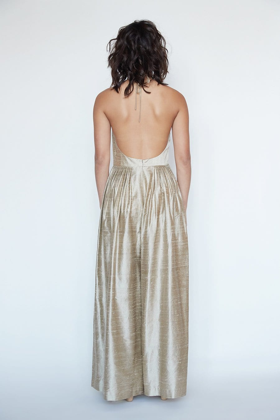 Marie Jumpsuit in Silk Dupioni