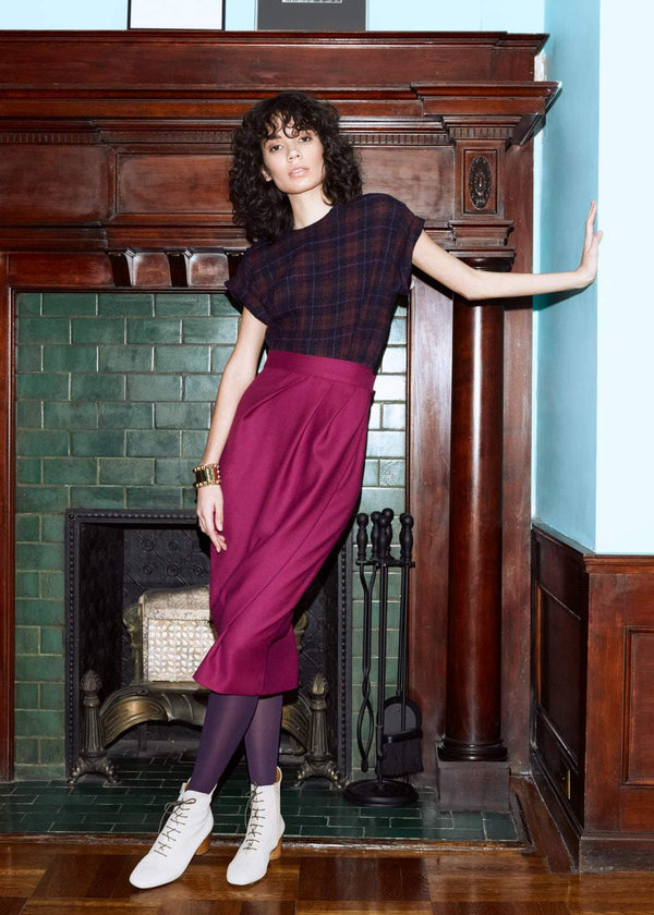 Straight Wrap Skirt in Wool Twill