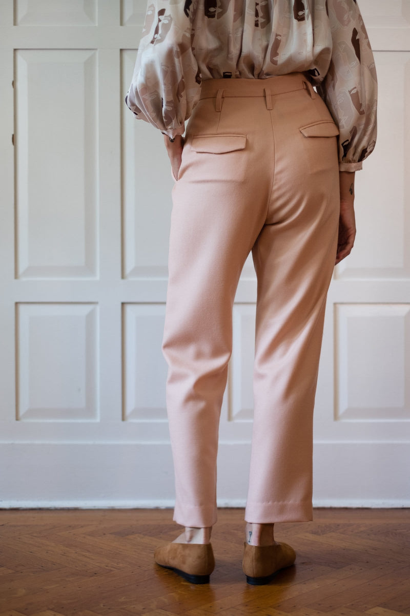 Pleated Taper Trouser in Wool Twill