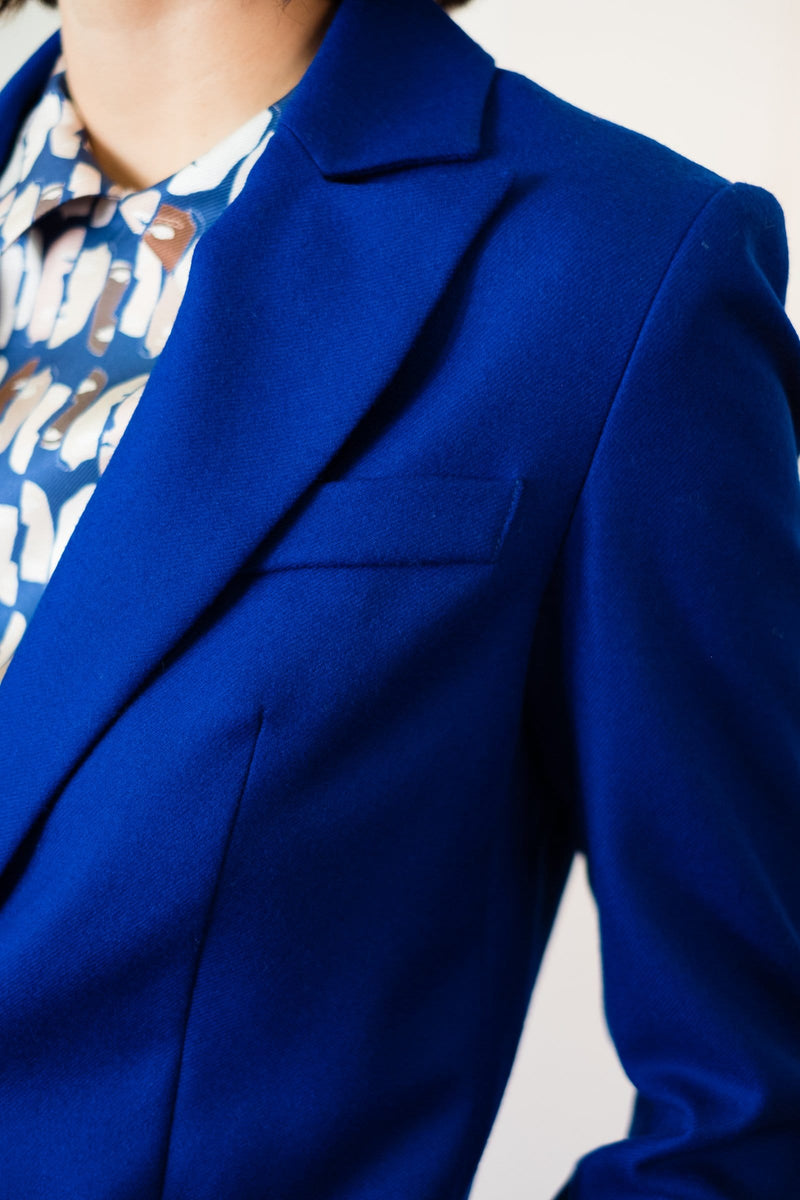 Peak Lapel Jacket in Wool Twill