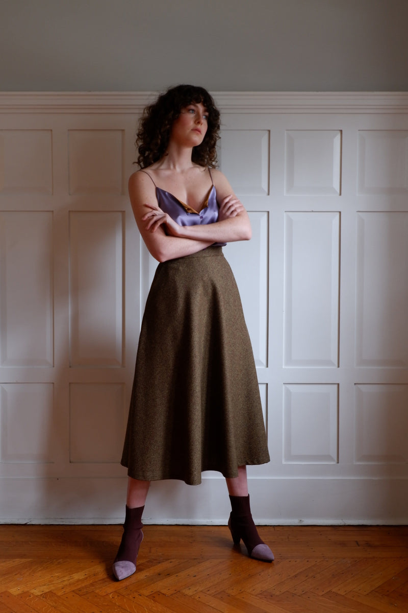 Wool tweed A-line Bias Skirt