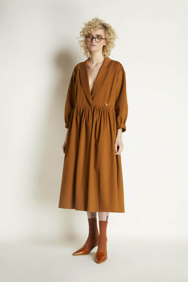 Pleated Wrap Dress: Cotton Twill