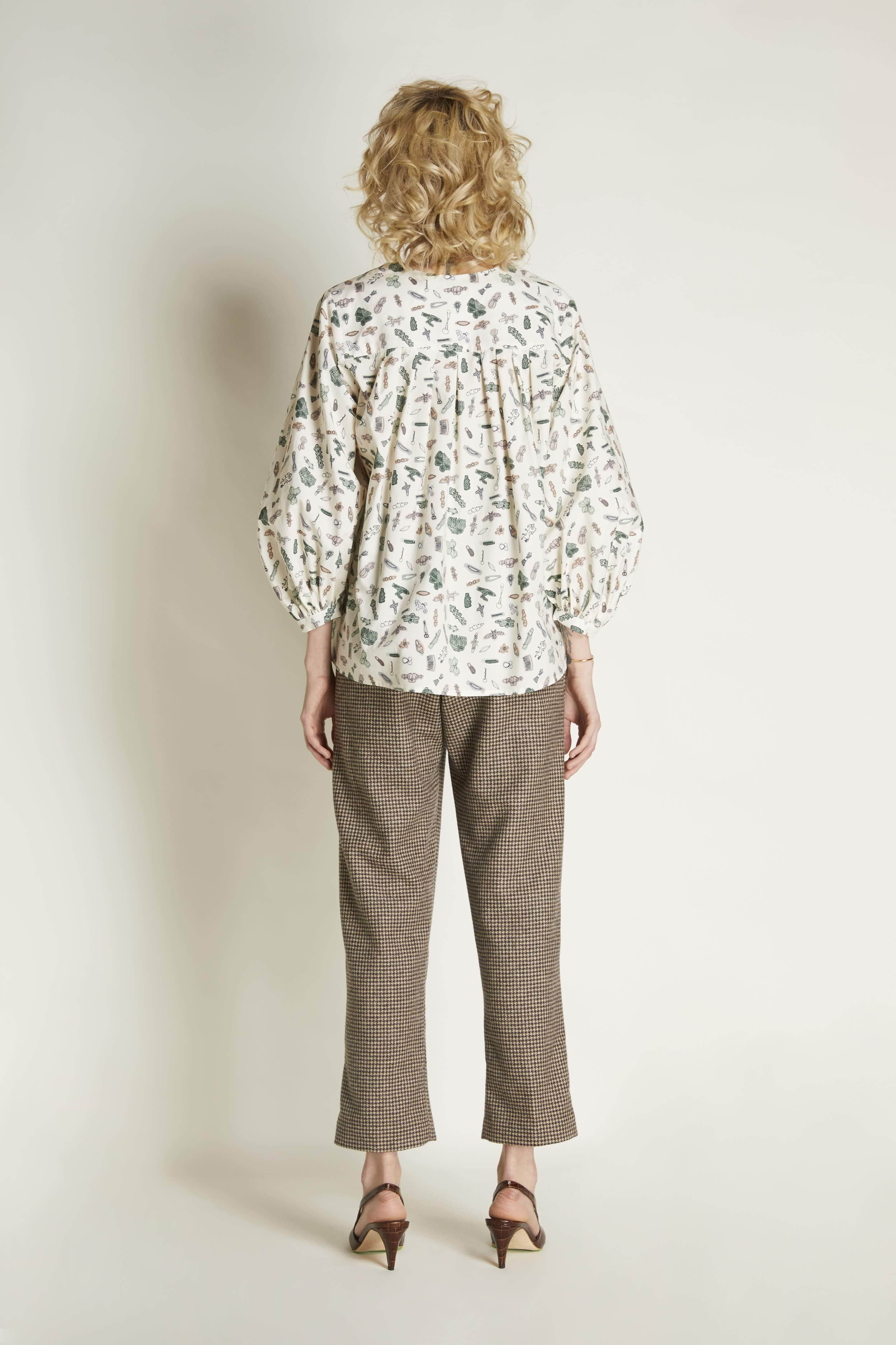 V-Neck Blouse:  Silk Print