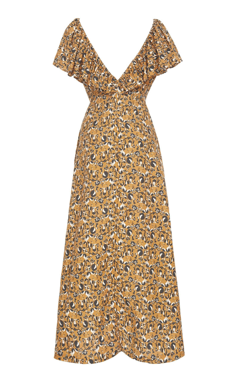 Ruffle Neck Ankle Length Dress (Print)