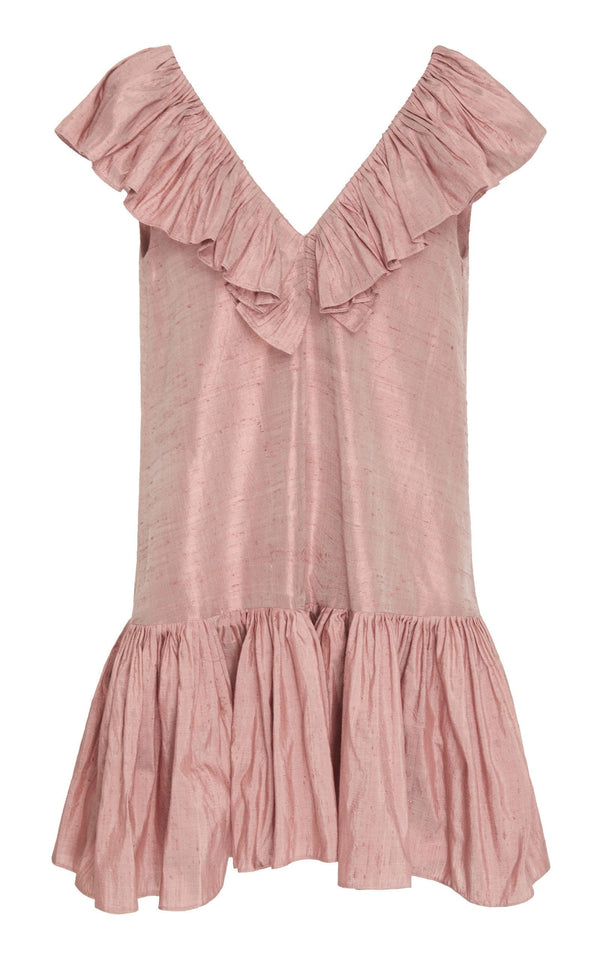 Ruffle Neck Mini Dress (Silk)