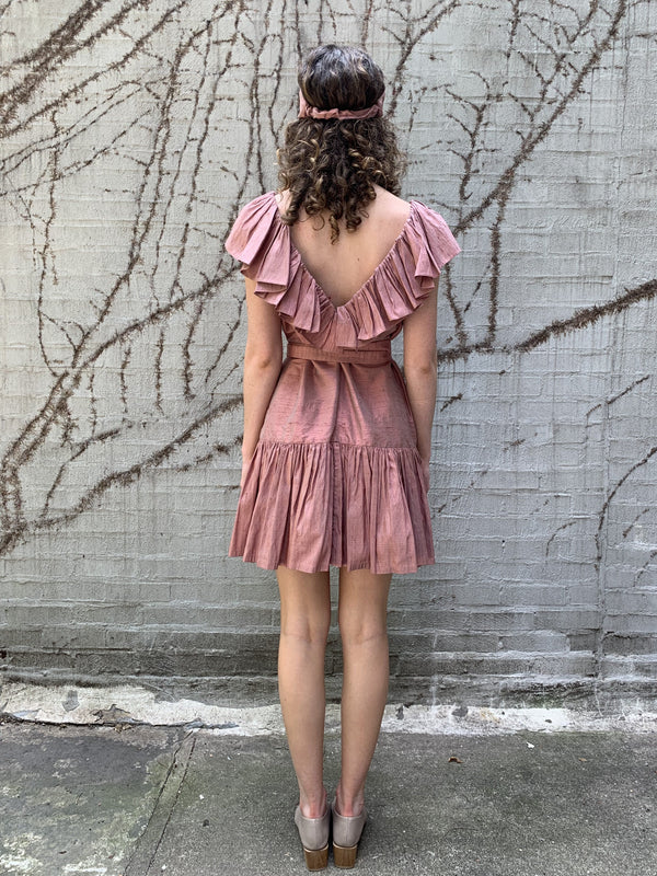 Ruffle Neck Mini Dress (raw silk)