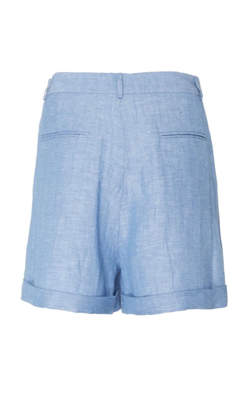 Pleated Shorts with Cuff (Linen)