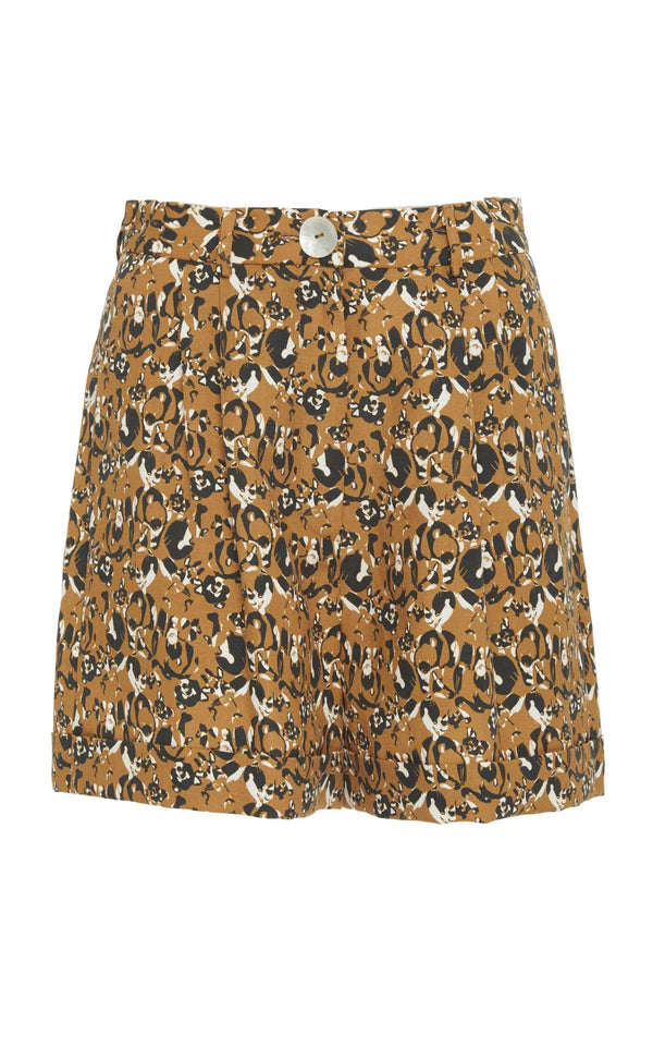 Pleated Shorts with Cuff (Print)