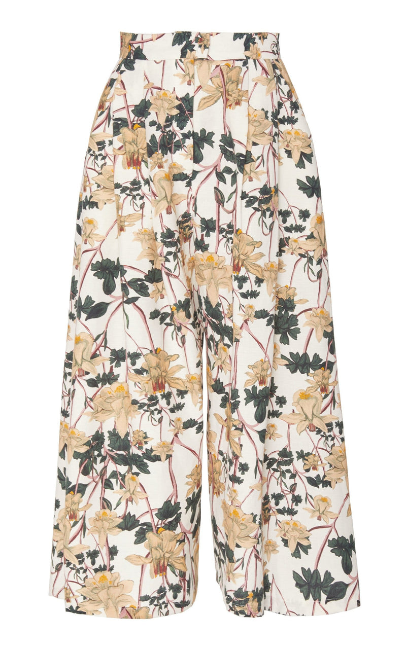 Pleated Wide Leg Trouser (Print)