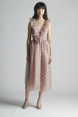 Ruffle Front Dress in Silk Organza